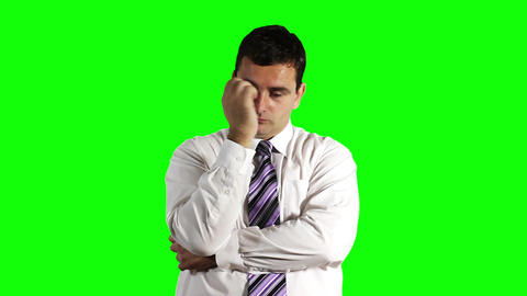 Young Businessman Thinking Hard Greenscreen 17 Stock Video Footage