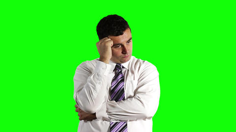 Young Businessman Thinking Hard Greenscreen 17 Footage