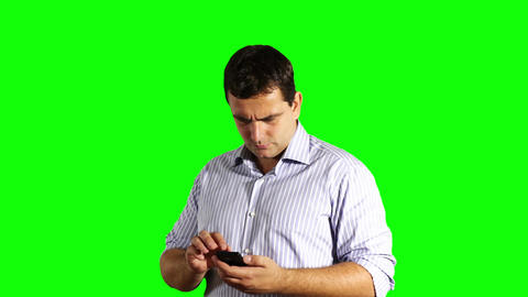 Young Businessman Touchscreen Phone Bad News Greenscreen 36 Stock Video Footage