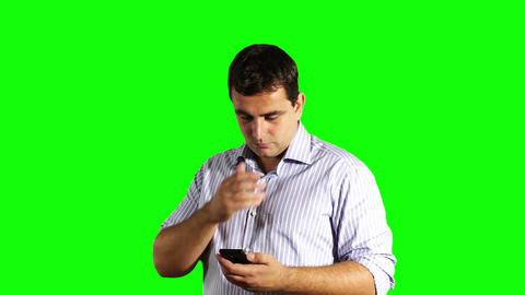 Young Businessman Touchscreen Phone Bad News Greenscreen 36 Footage