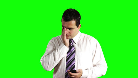 Young Businessman Touchscreen Phone Getting Bad News Greenscreen 3 Footage