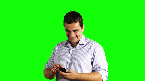 Young Businessman Touchscreen Phone Good News Greenscreen 35 Footage