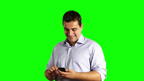 Young Businessman Touchscreen Phone Good News Greenscreen 35 Stock Video Footage
