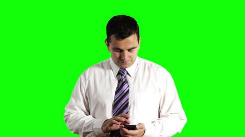 Young Businessman Touchscreen Phone Greenscreen 1 Footage