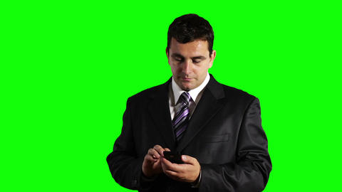 Young Businessman Touchscreen Phone Greenscreen 25 Stock Video Footage