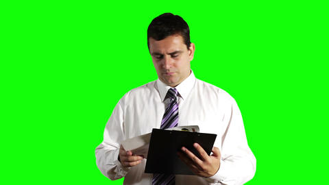 Young Businessman Unhappy with Contract Greenscreen 8 Footage