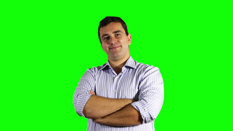 Young Confident Businessman Smiling at the Camera Greenscreen 53 Footage