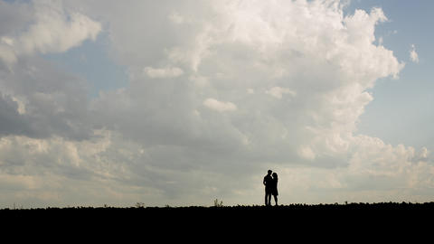 Couple In Love Silhouette stock footage