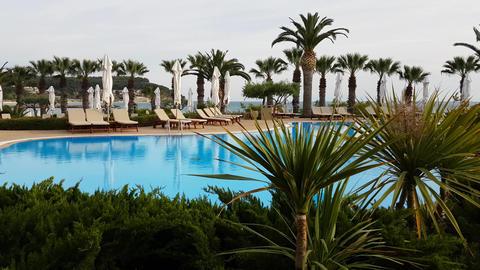 Luxury hotel resort pool at Halkidiki, Greece Footage