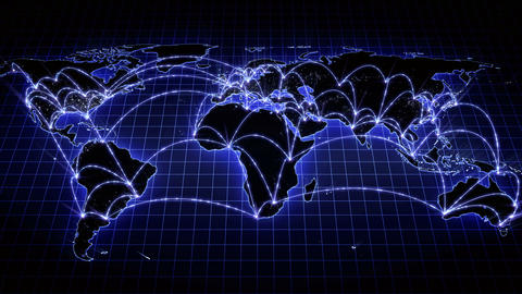 Growing global network across the world map. Internet and business concept. 4K Animation