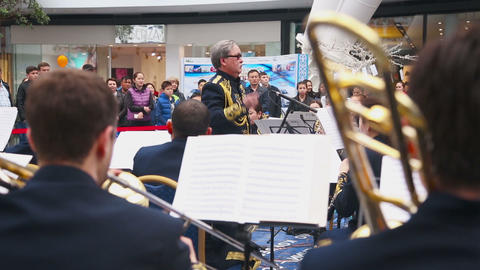 The conductor of brass band Footage