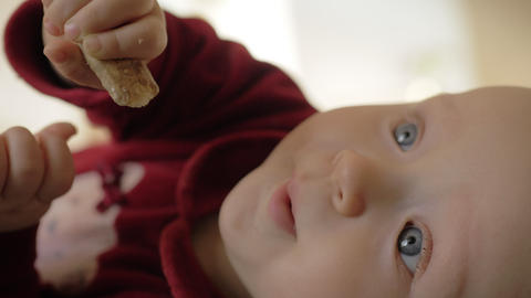 Lovely child eating baby biscuits Live Action