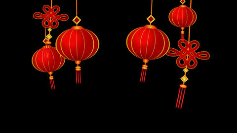 Lanterns and chinese pendants on wind looped with alpha, transparency Animation