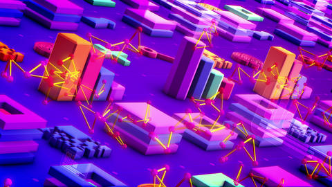 Abstract Techno Symbols Placed Askew Animation