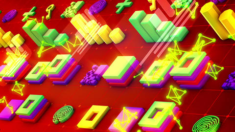 Abstract Techno Symbols and PC Chips Animation