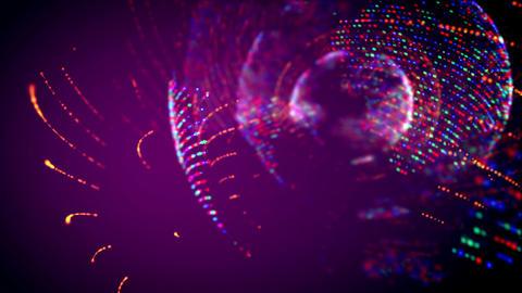 Four bright spheres turning around Animation