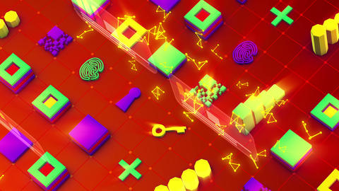 Sparkling Abstract Techno Symbols and Signs Animation