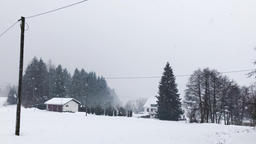 Snowstorm Falling in Rural Switzerland Footage