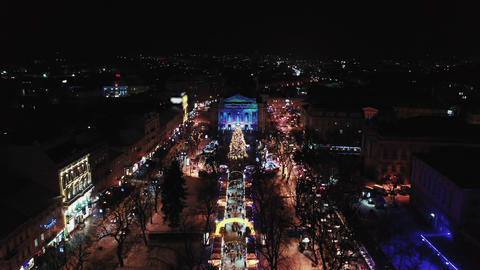 Lviv Opera Theatre. Night aerial view of Lviv Opera Footage