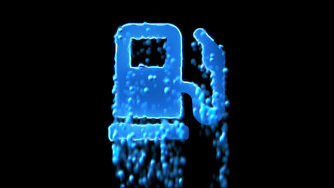 Liquid symbol gas pump appears with water droplets. Then dissolves with drops of Animation