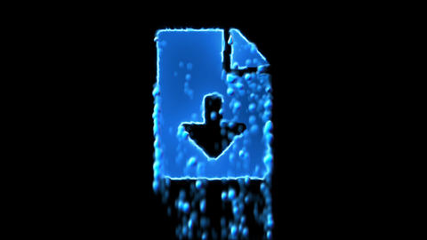 Liquid symbol file download appears with water droplets. Then dissolves with CG動画