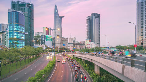 Time-lapse view of traffic in Ho Chi Minh city from sunset to evening Footage