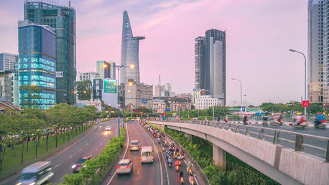 Time-lapse view of traffic in Ho Chi Minh city from sunset to evening GIF