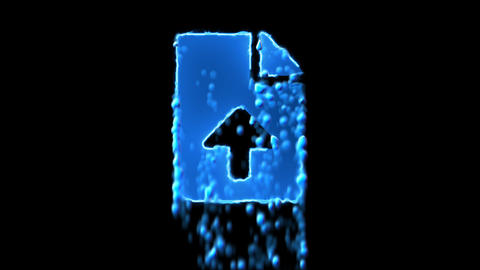 Liquid symbol file upload appears with water droplets. Then dissolves with drops Animation