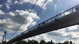 Holbeinsteg Suspension Bridge and Cloudscape Live Action