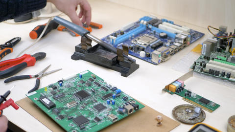 Workplace with electronic components in electronics workshop Footage