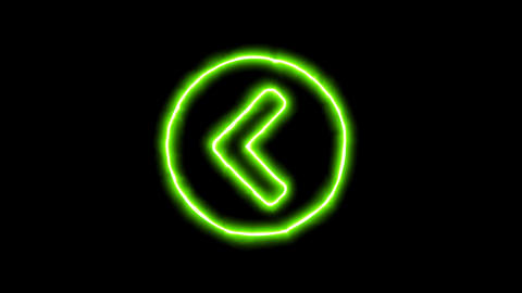 The appearance of the green neon symbol chevron circle left. Flicker, In - Out. Animation