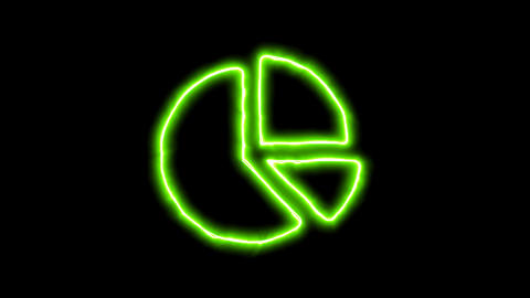 The appearance of the green neon symbol chart pie. Flicker, In - Out. Alpha Animation