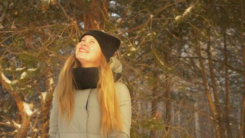 Girl enjoying sunny winter day Footage