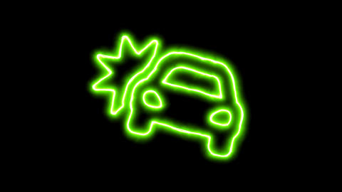 The appearance of the green neon symbol car crash. Flicker, In - Out. Alpha Animation