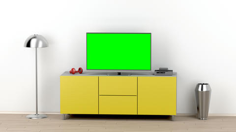 Tv with green screen GIF