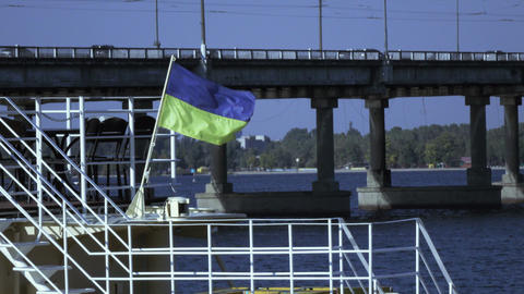 Flag at stern on boat Footage
