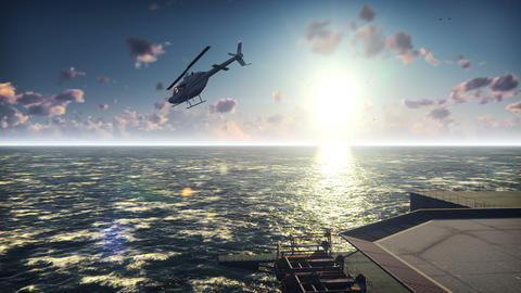 A helicopter takes off from an Oil platform, offshore platform, or offshore Animation