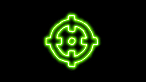 The appearance of the green neon symbol crosshairs. Flicker, In - Out. Alpha Animation