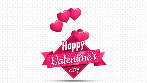 Valentine's Day. Heart shaped pink balloons holding a square sign with a pink Animation