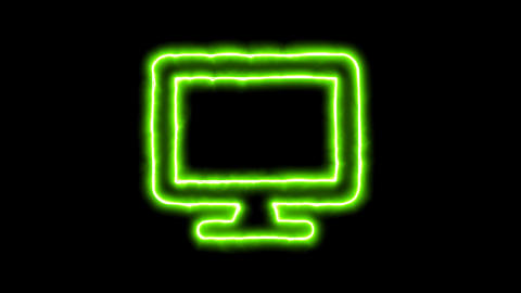 The appearance of the green neon symbol desktop. Flicker, In - Out. Alpha Animation