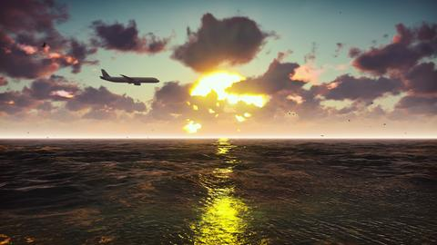 Passenger plane flies over the ocean at sunset. Beautiful summer background. 3D Photo