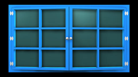3D animation of a blue window with glass front view that... Stock Video Footage