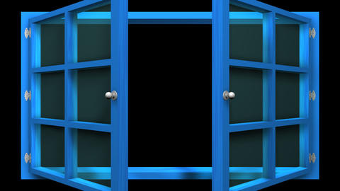 3D animation of a blue window with glass front view that opens and closes. This Animation