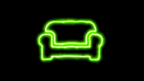 The appearance of the green neon symbol couch. Flicker, In - Out. Alpha channel Animation