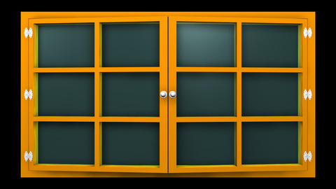 [alt video] 3D animation of a orange window with glass front view...