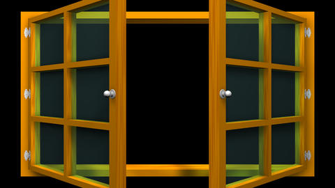 3D animation of a orange window with glass front view that opens and closes. Animation