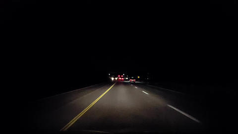 Driving Rural Countryside at Night. Driver Point of View POV Evening Drive Live Action