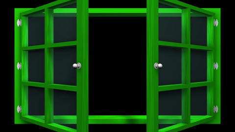 3D animation of a green window with glass front view that opens and closes. This Animation
