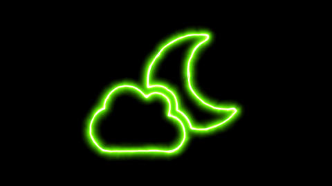 The appearance of the green neon symbol cloud moon. Flicker, In - Out. Alpha Animation