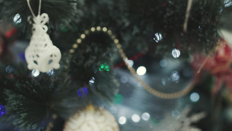 Christmas tree decorated with sparkly christmas tree toys Footage